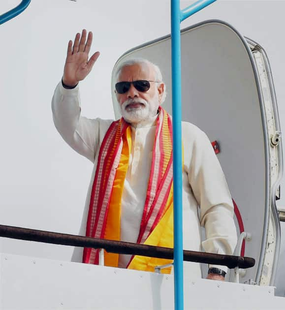 Prime Minister Narendra Modi at AFS Palam in New Delhi before his departure for Iran.