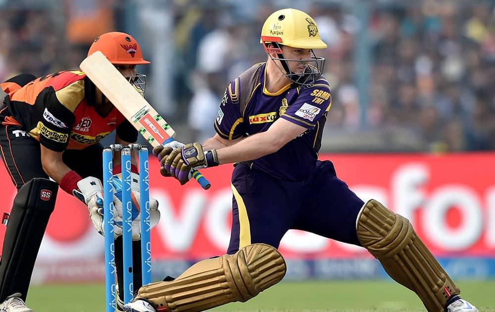 KKR batsman Colin Munro plays a shot during IPL Match against SRH in Kolkata.