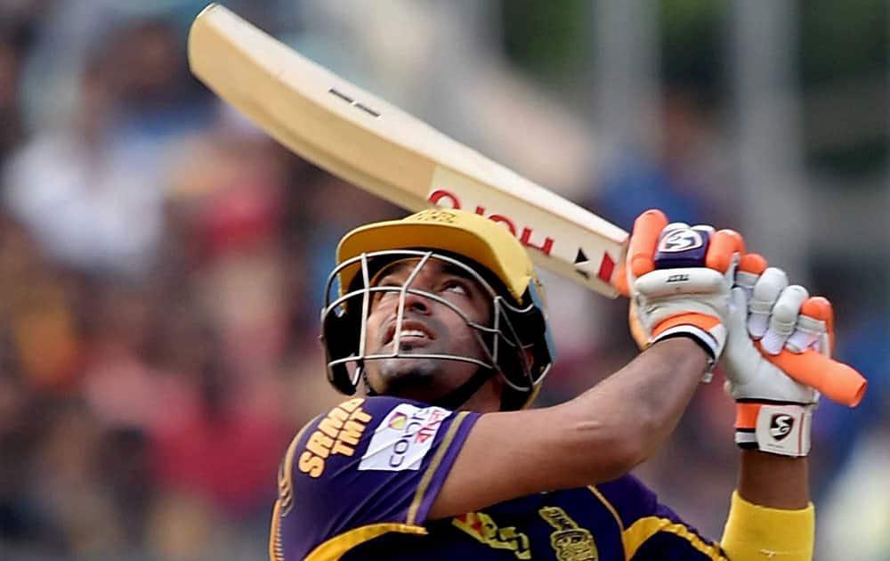KKR batsman Robin Uthappa plays a shot during IPL Match against SRH in Kolkata.