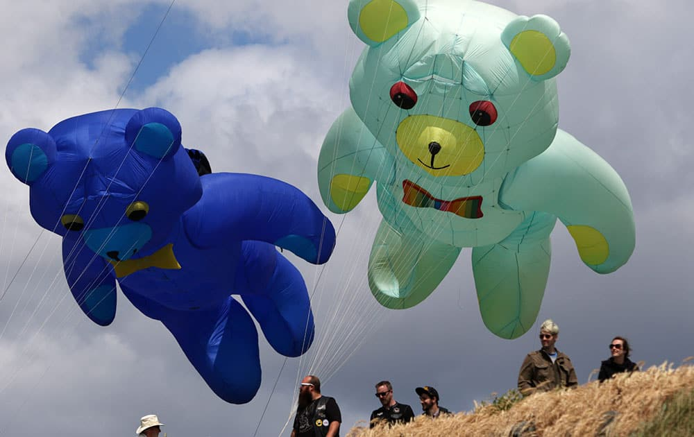 Bear kites fly over Clover Point in Victoria, B.C.,  at the third annual Victoria International Kite Festival.