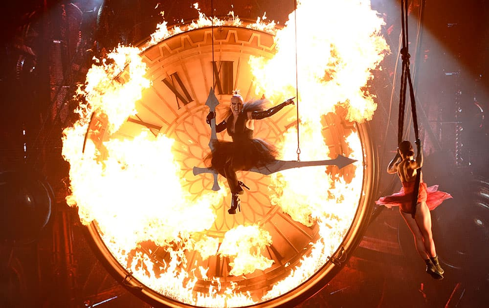 """Pink performs """"Just Like Fire"""" at the Billboard Music Awards at the T-Mobile Arena."""