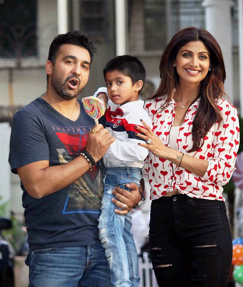 Bollywood actor Shilpa Shetty with husband Raj Kundra celebrate their son Viaans birthday in Mumbai.