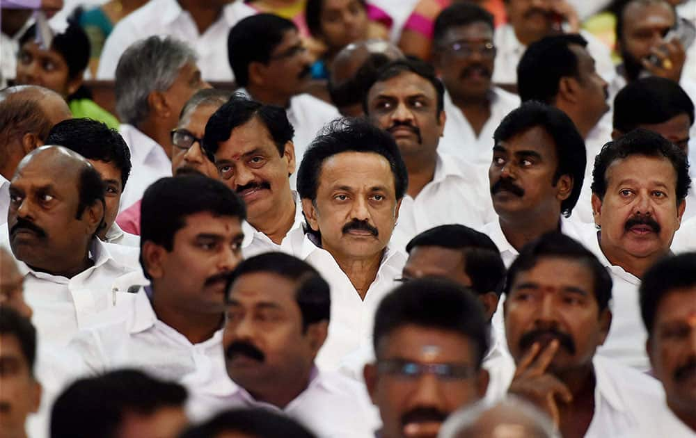 DMK Treasurer M K Stalin and a host of party colleagues attend AIADMK Supremo J Jayalalithaas swearing-in ceremony as Chief Minister of Tamil Nadu in Chennai.