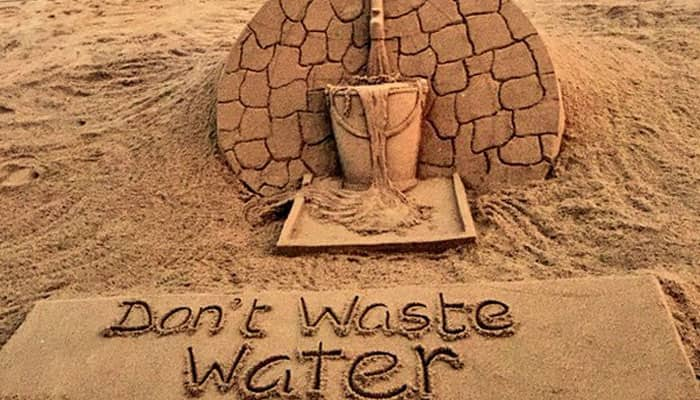 Sudarshan Patnaik creates sand art on water conservation with slogan 'don't waste water'