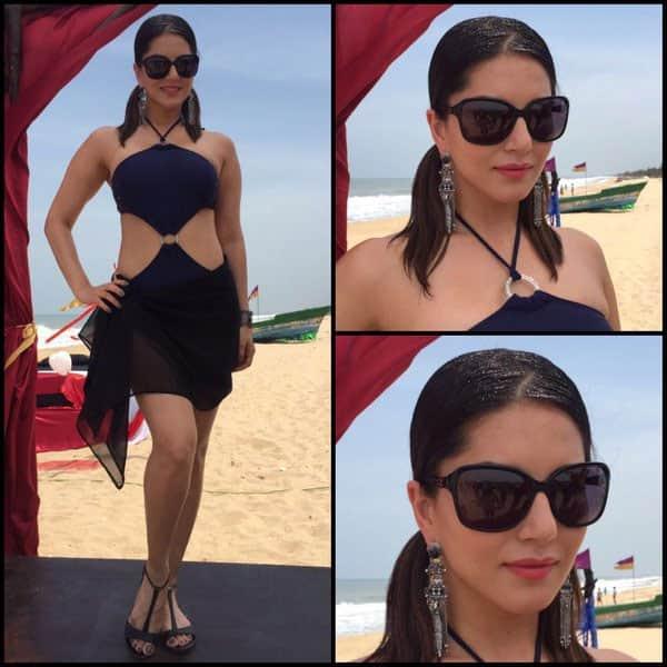 Suit @Nidhimunim Erngs-@accessoriesbyanandita glasses- @luxurystationindia @alexandermcqueen &styling @hitendra1480 - Twitter@SunnyLeone
