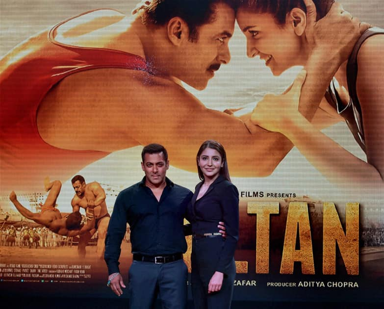 Bollywood actors Salman Khan and Anushka Sharma pose during the trailer launch of their new film Sultan in Mumbai.