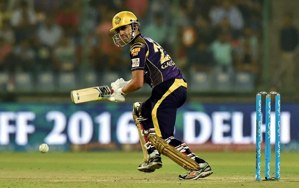 KKRs batsman Gautam Gambhir plays a shot against Sunrisers Hyderabad during the IPLT20 eliminator match at Feroz Shah Kotla in New Delhi.