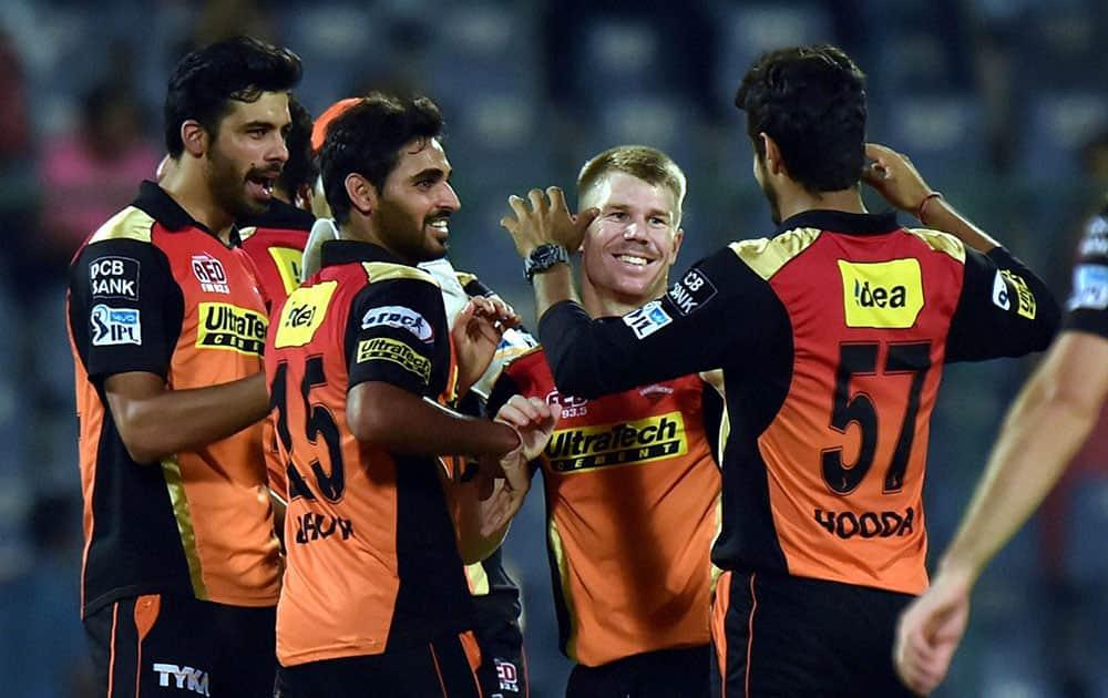 Sunrisers Hyderabad players celebrate after winning against KKR during an eliminator match of the IPL T20 at Ferozshah Kotla in New Delhi.