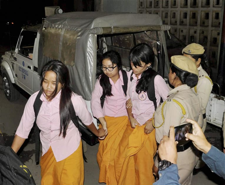 Police formally arrest three of the six students who courted arrest during their protest at TG Higher Secondary School demanding implementation of Inner Line Permit System.