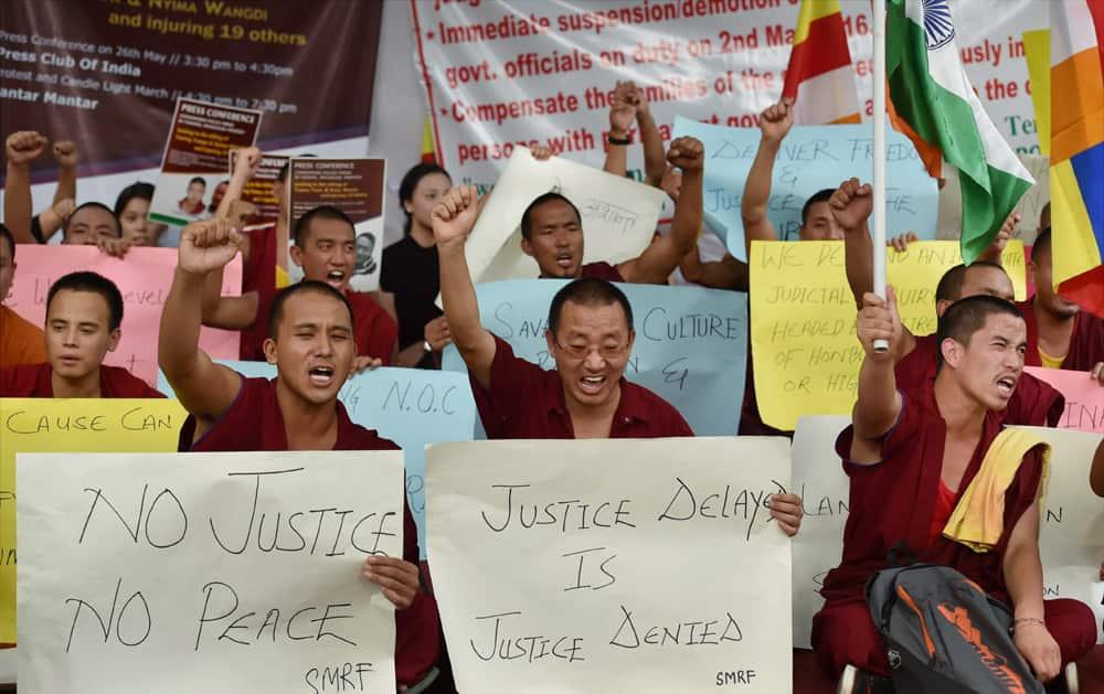 Buddhist monks protest at Jantar Mantar in New Delhi against killing of Tsering Tempa and Nyima Wangdi allegedly in a police firing in Tawang, Arunachal Pradesh.