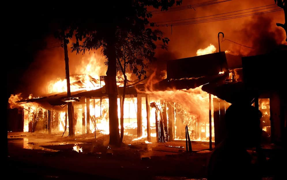 A massive fire broke out at a market in Chirang district of Assam.
