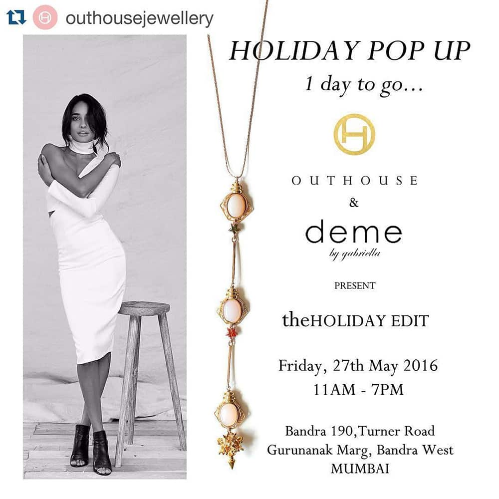Pernia Qureshi @PerniaQureshi  :- #Repost @_outhouse with repostapp. .・・Only 1 day to go for our