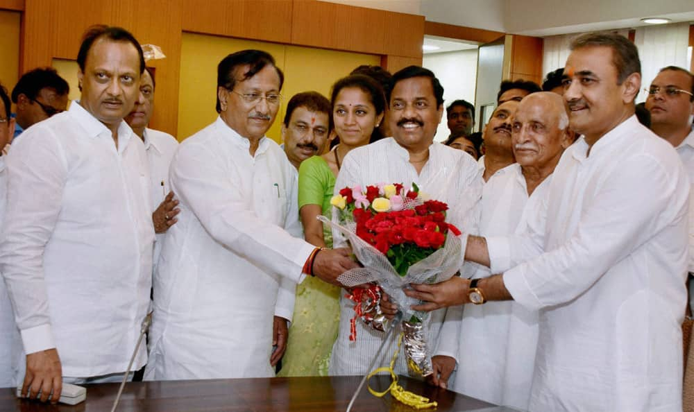 NCP Leader Praful Patel along with Supriya Sule, MP and daughter of Sharad Pawar and other party leaders, files the nomination for Rajya Sabha election at State Vidhan Bhavan in Mumbai.