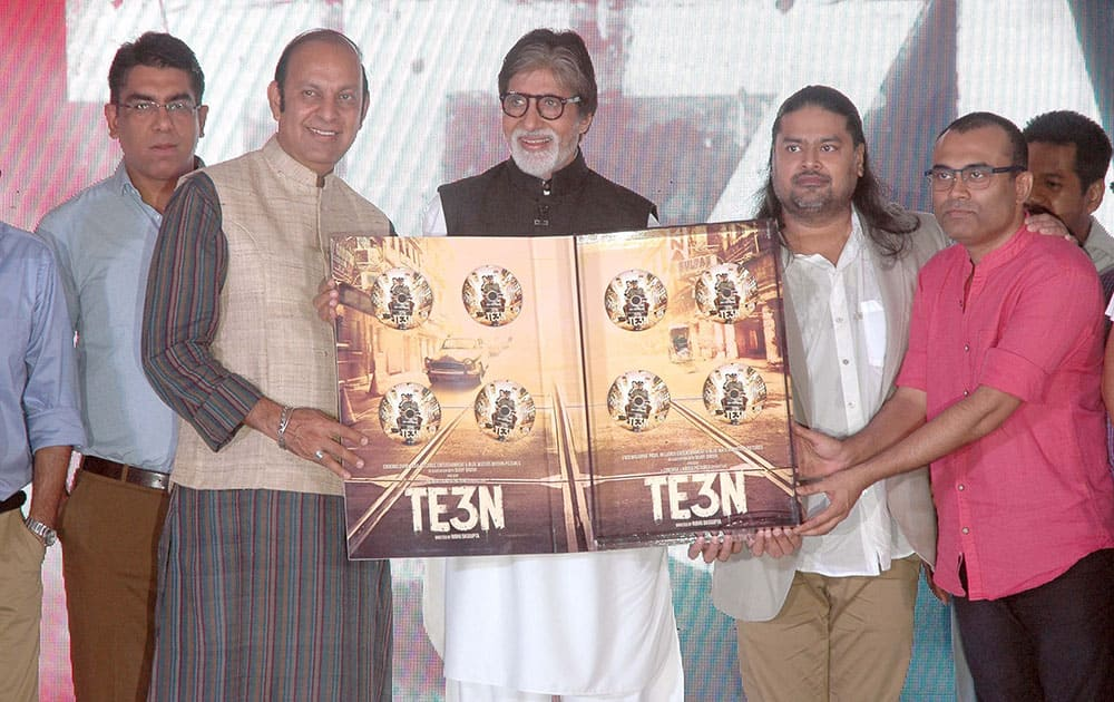 Bollywood actor Amitabh Bachchan during the music launch of film Te3n in Mumbai.