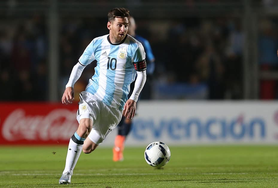 Argentina's Lionel Messi dominates the ball during a friendly soccer match against Honduras in San Juan, Argentina.