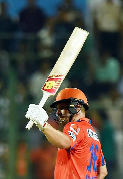 Gujarat Lions batsman Aaron Finch celebrates his fifty runs during an IPL T20 match against Sunrisers Hyderabad at Feroz Shah Kotla.