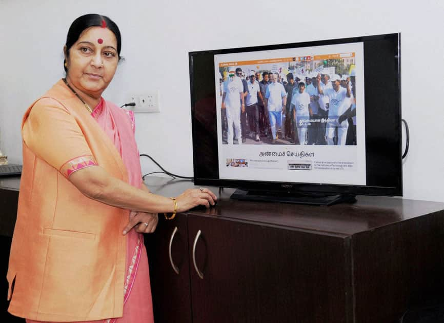 Union Minister for External Affairs Sushma Swaraj launching the PMO India Multi-Lingual website.