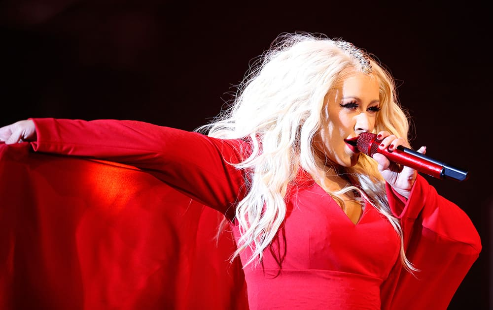 Christina Aguilera performs during a concert at the annual Mawazine Music Festival in Rabat, Morocco.