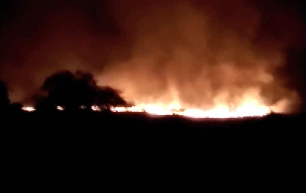 A huge fire is seen at the Pulgaon ammunition depot in Pulgaon, Maharastra.