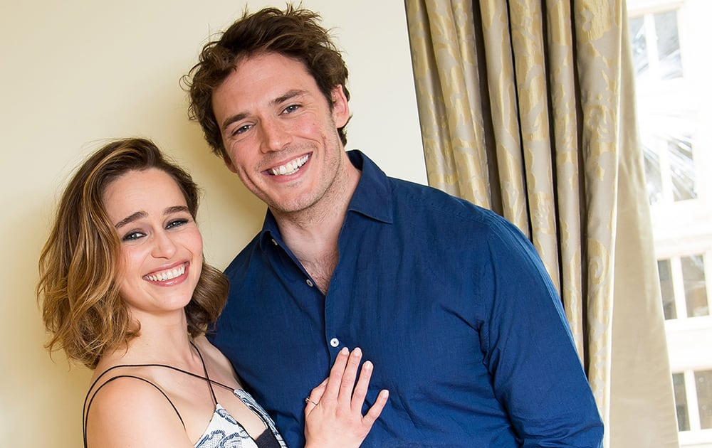 actors Emilia Clarke, left, and Sam Claflin pose for a portrait to promote their film,