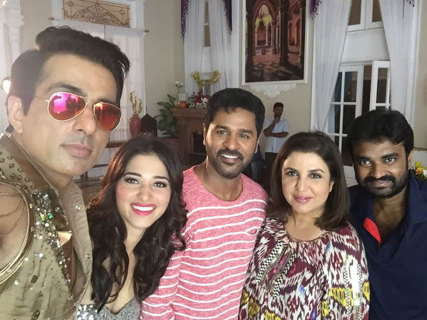 Such fun shooting a cameo for n with my talented friends @SonuSood @PDdancing @tamannaahspeaks n director Vijay..- twitter@TheFarahKhan