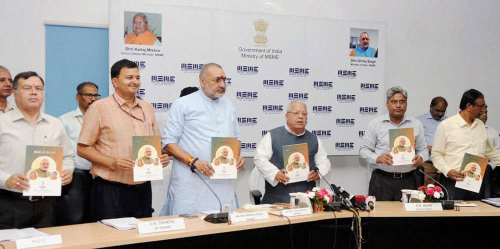 Union Minister for Micro, Small and Medium Enterprises, Kalraj Mishra launching the book on the achievements of the Ministry (2014-16), at a Press Conference, in New Delhi.