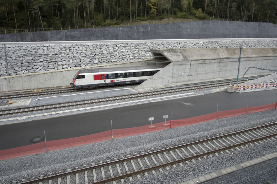 After 17 years of construction work, the Gotthard Base Tunnel opened for the first time extending 57 km in length in Switzerland.