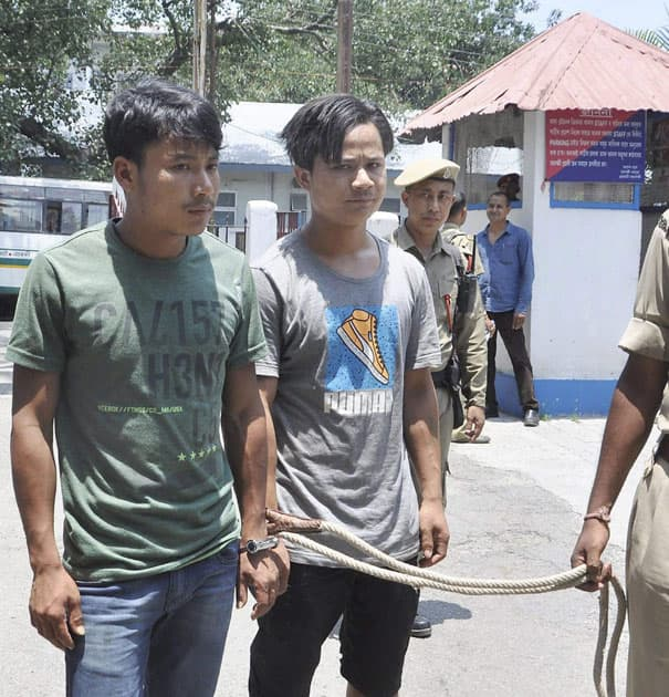NDFB militants Tarun Narzray alias N. Thiranga and Bikram Mushuhary alias M. Nurlungbutur at the Panbazar Police Station after their arrest in Guwahati.