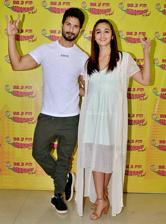Bollywood actors Shahid Kapoor and Alia Bhatt during the promotion of their upcoming film Udta Punjab in Mumbai.