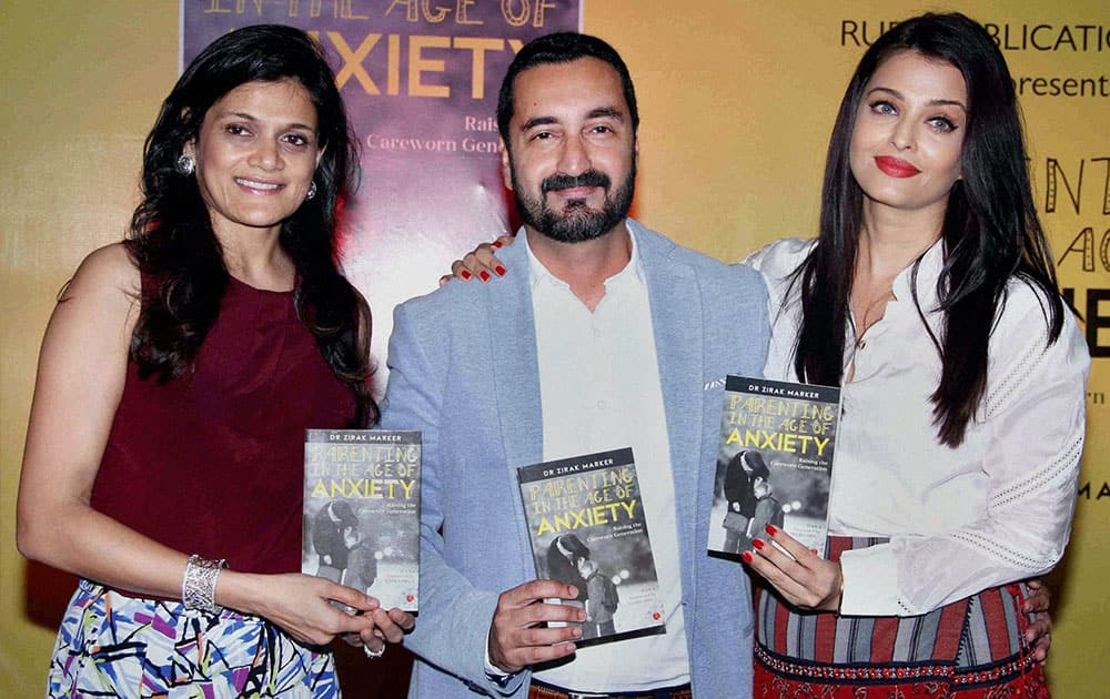Bollywood actor Aishwarya Rai Bachchan launches author Zirak Markers book Parenting in the Age of Anxiety in Mumbai.