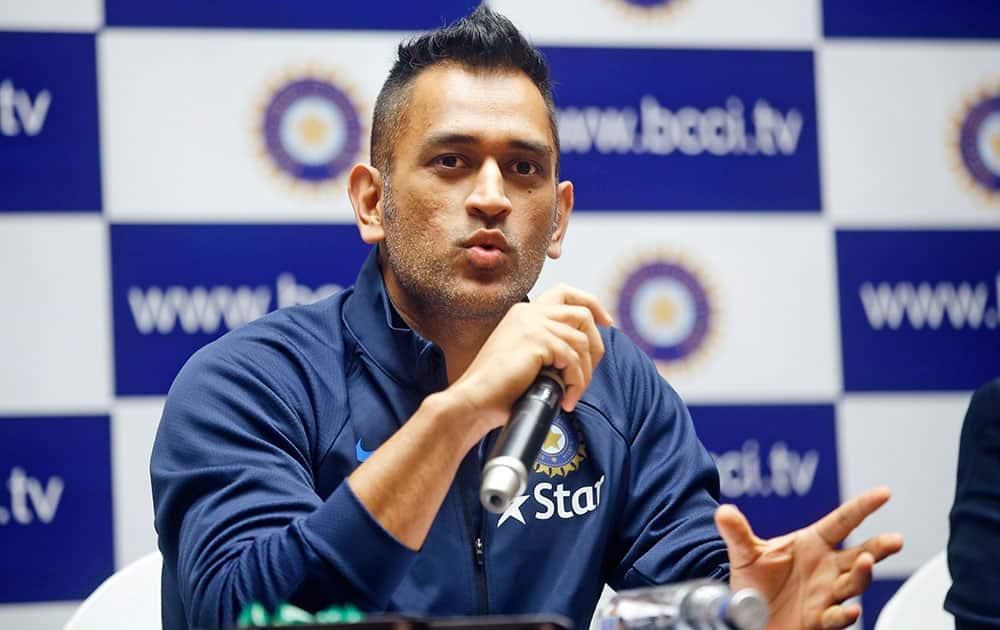 Mahendra Singh Dhoni addresses a press conference