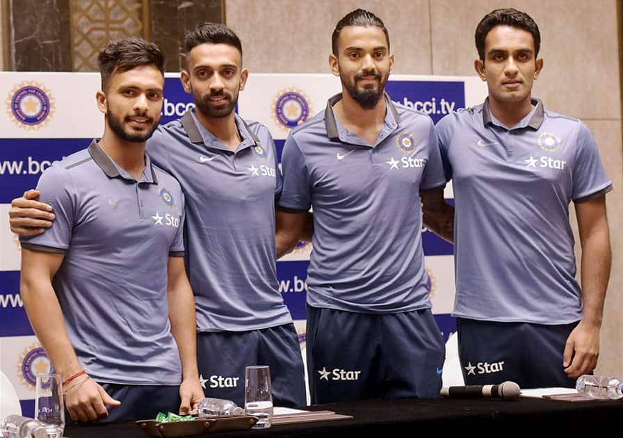 Cricketers Mandeep Singh, Dhawal Kulkarni, KL Rahul and Jayant Yadav