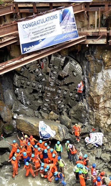 Tunnel Boring Machine broke through at Kempegowda Station
