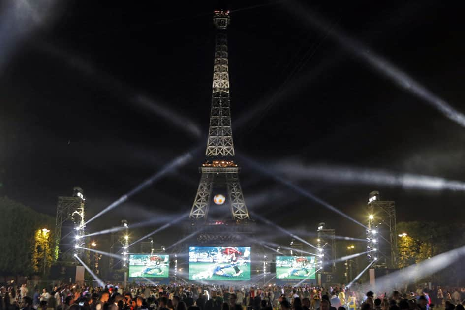 The Eiffel Tower after the Euro 2016 Group A soccer match