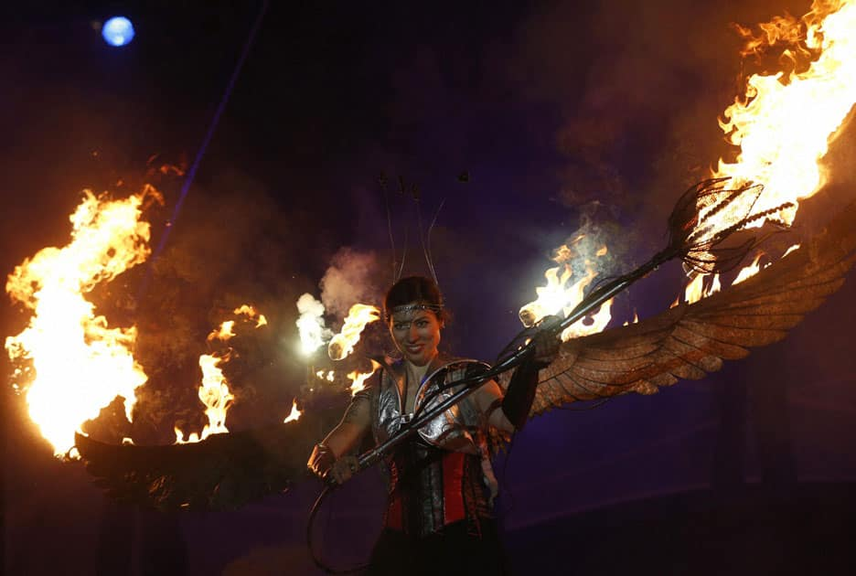 A participant performs during the Kiev Fire Fest in Kiev