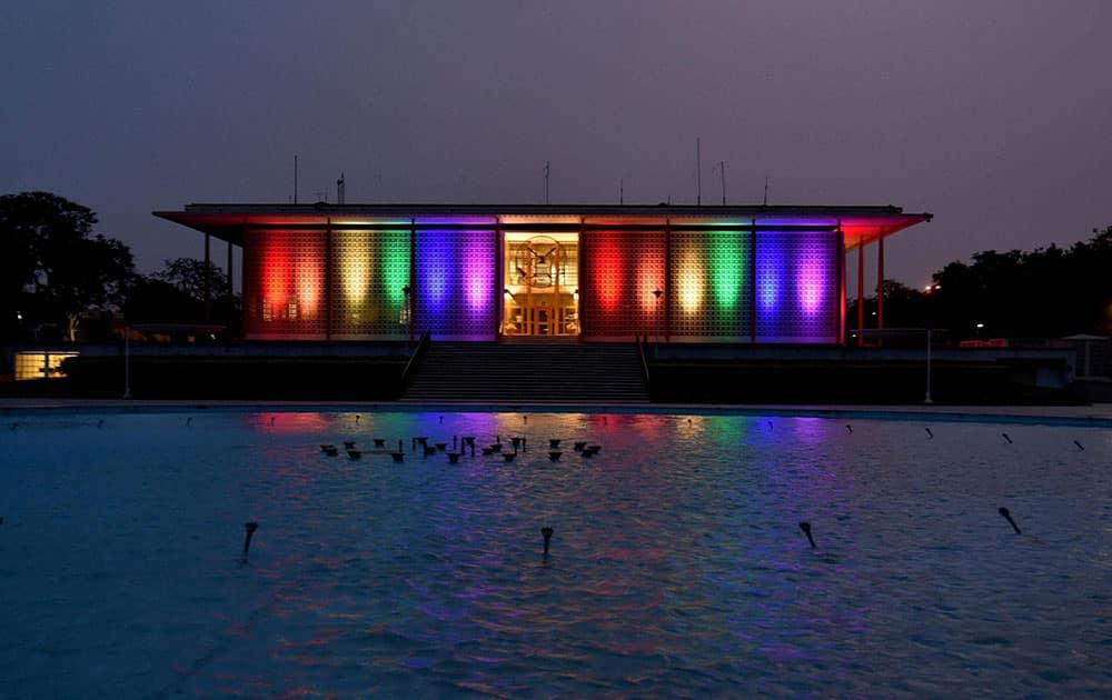 US Embassy celebrating with lighting