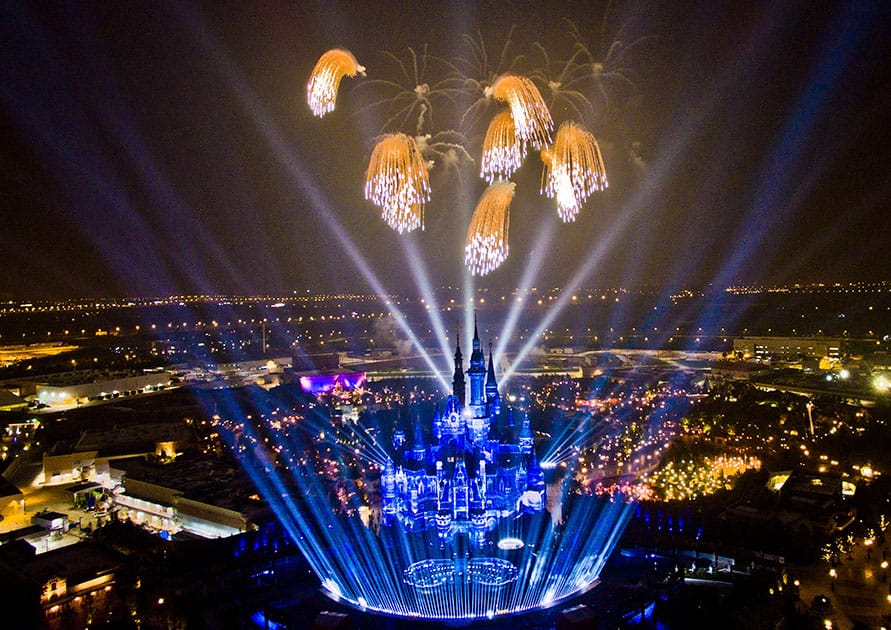 A high angle view of a fireworks and light show rehearsal is seen at the Shanghai Disney Resort.