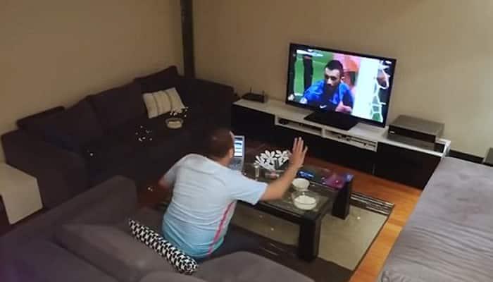 Unbelievable! Crazy Euro 2016 fan breaks TV after his wife's prank– Watch