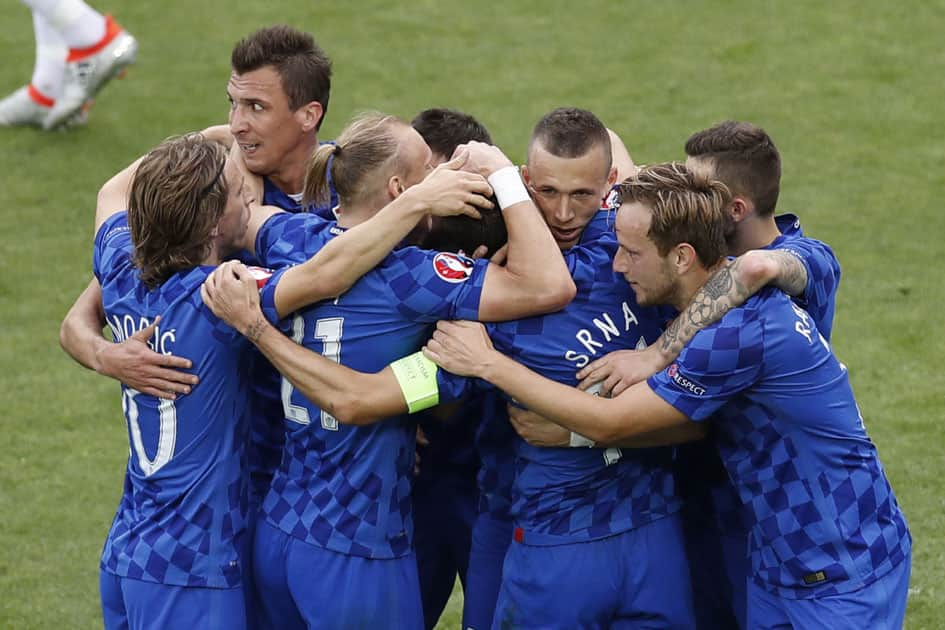 Czech Republic players celebrate opening goal