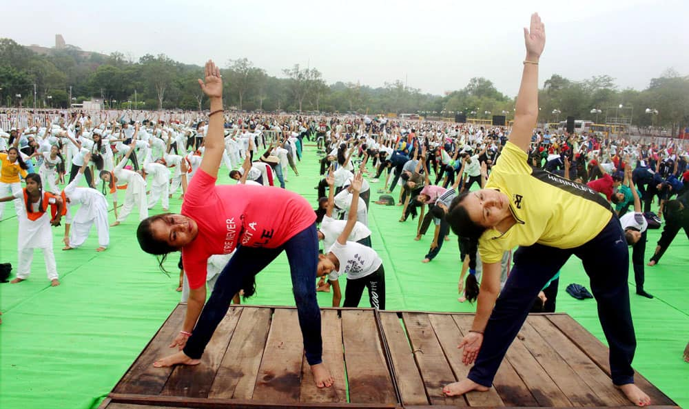 School children practice Yoga