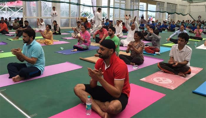 In Pics: BCCI president Anurag Thakur, Harbhajan Singh participate in Yoga Day