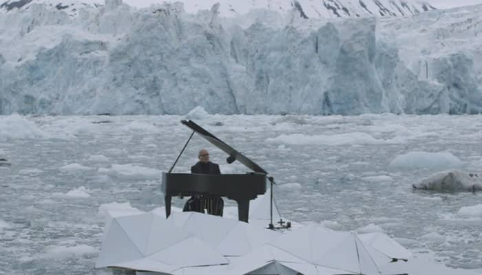 Haunting! World renowned pianist performs while floating in Arctic to save environment - Watch video