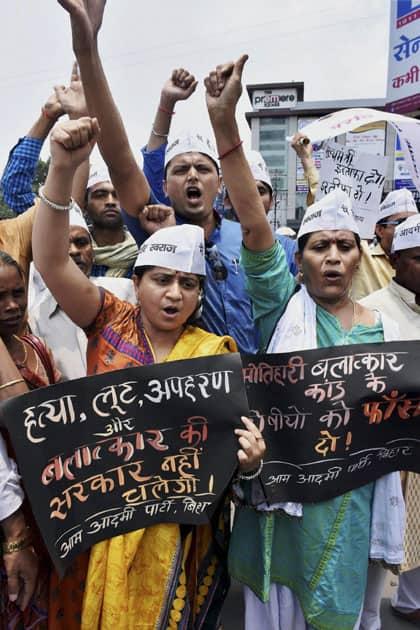 AAP activists protest against gang-rape
