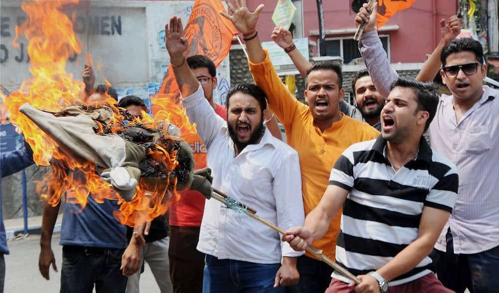 ABVP activists holding a protest