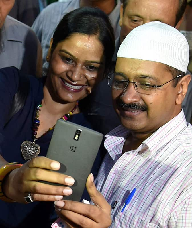 Delhi Chief Minister Arvind Kejriwal poses for a Iftar Party