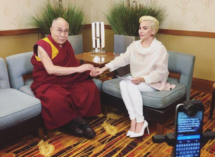Lady Gaga meets Dalai Lama