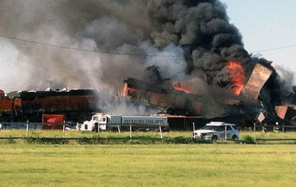 Two freight trains are on fire, after they collided and derailed near Panhandle, Texas