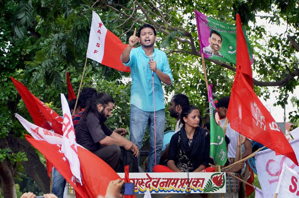 Police stop activists of various students organisations taking part in Jan Pratirodh March