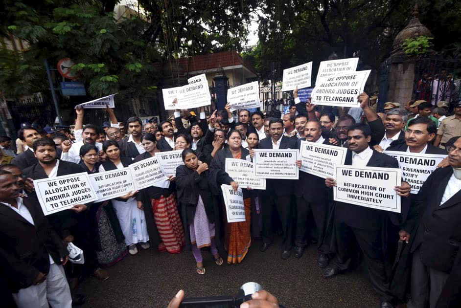 Telangana advocates holding placards at a protest