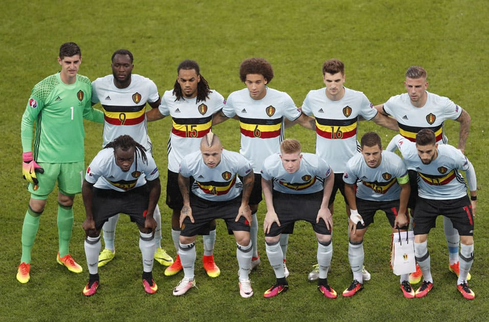 Belgium's players pose for a team picture before the Euro 2016 quarterfinal match